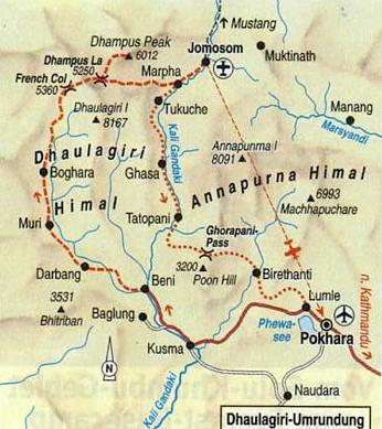 Karte Dhaulagiri-Region